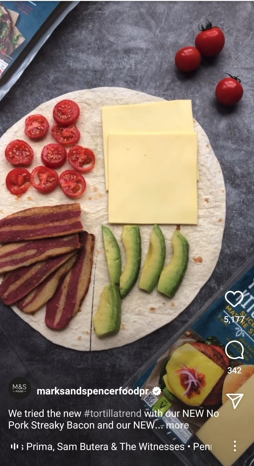 Screenshot of a reel showcasing the tortilla wrap trend from M&S Food