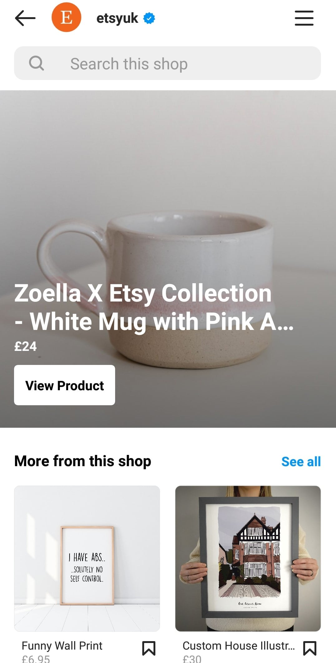 Etsy Instagram Shop