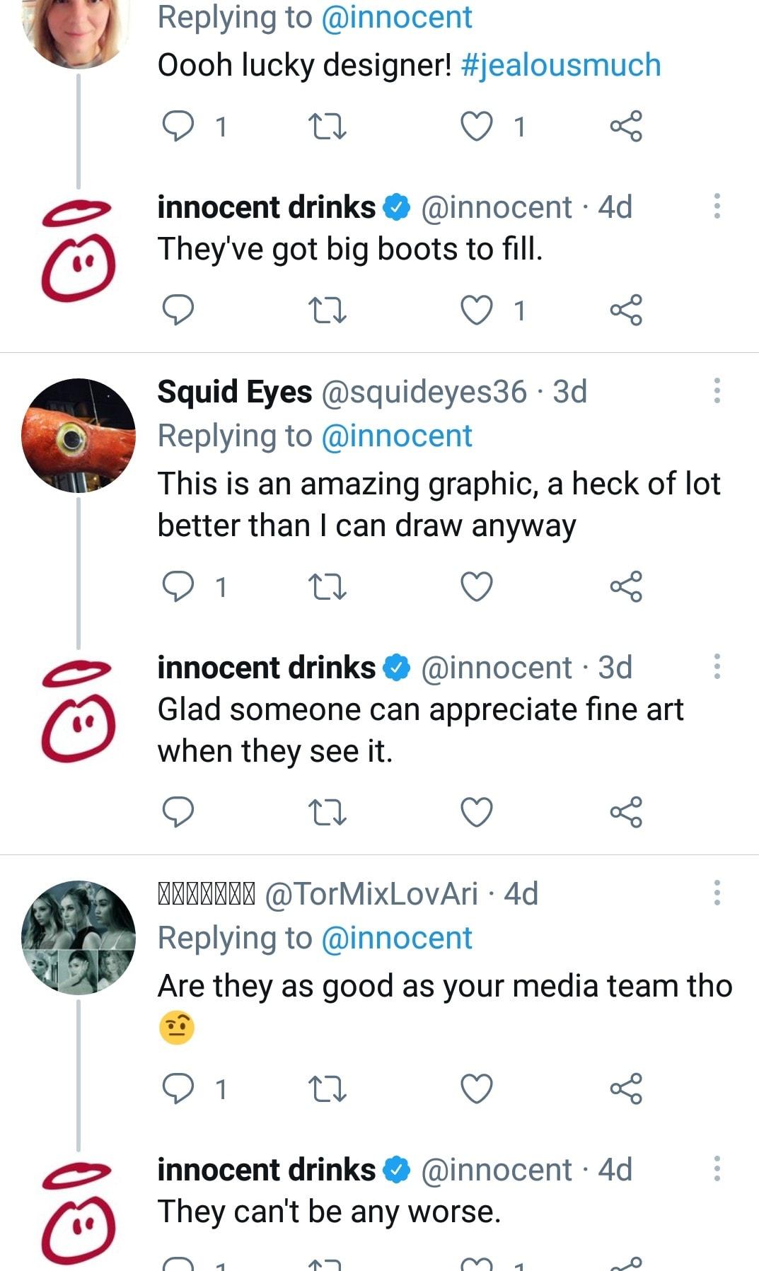 Twitter conversation from Innocent