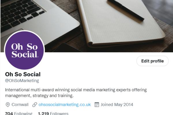 Oh So Social's Twitter bio